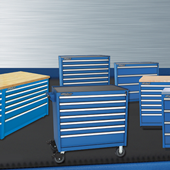 Heavy duty modular storage cabinets and workstations by Professional Tool Storage