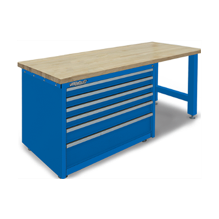 Modular Work Bench 6 Drawer Cabinet with Maple Wood Laminated Top  by Professional Tool Storage