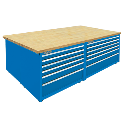 Modular Work Bench 24 Drawer Cabinet with Maple Wood Laminated Top  by Professional Tool Storage