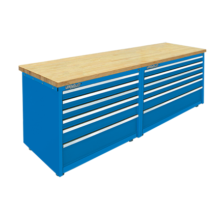 Modular Work Bench 12 Drawer Cabinet with Maple Wood Laminated Top  by Professional Tool Storage