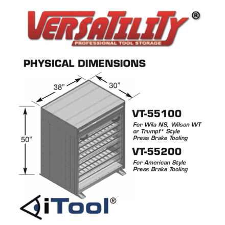 Cabinet Dimensions | iTool® Visual Press Brake Tool Storage System | Versatility